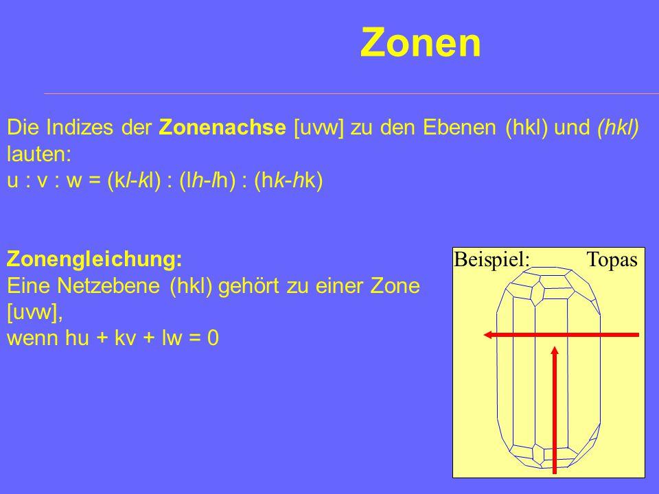 Zonen Die Indizes der Zonenachse [uvw] zu den Ebenen (hkl) und (hkl) lauten: u : v : w = (kl-kl) : (lh-lh) : (hk-hk)